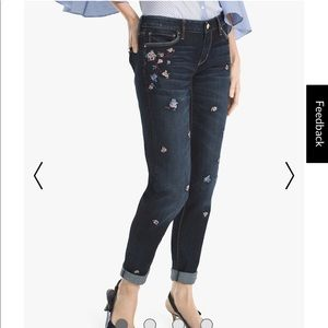 WHBM Girlfriend Floral Embroidered Jeans Size: 2
